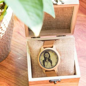 Image 5 - 사용자 정의 시계 개인 사진 인쇄 사용자 정의 커플 시계 남자 여자 크기 나무 선물 상자 아날로그 Relogio Feminino Masculino