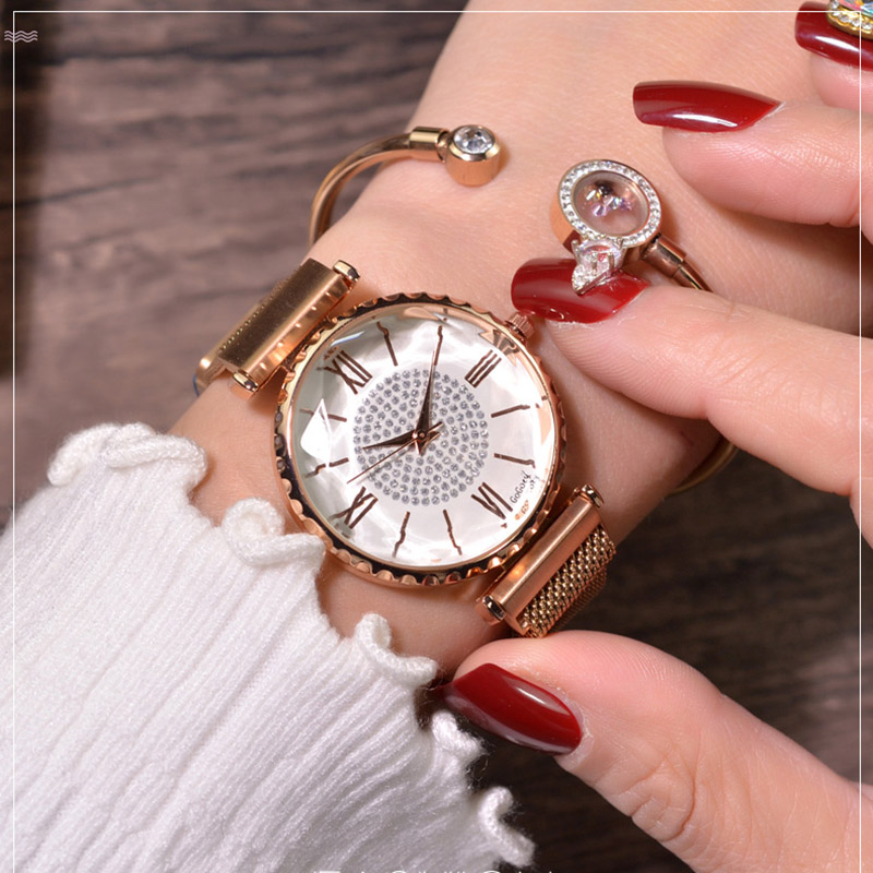 2019 Luxury Watches For Women Bracelet Magnetic Mesh Band Rhinestone Wristwatch New Ladies Diamond Quartz Clock Relogio Feminino