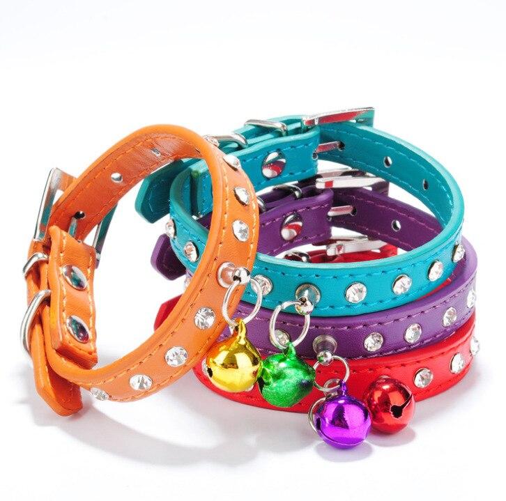 Bell Man-made Diamond Pet Collar Pu Gou Neck Ring Necklace Dog Bell Neck Ring Dog Supplies