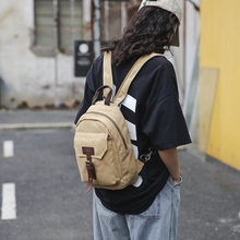 Fashion small canvas backpack Retro style women's shopping backpack Men's commuter backpack American casual style Multifunction
