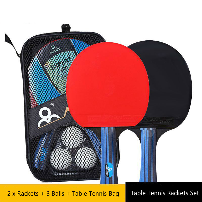Table Tennis Racket Set Long Short Handle Good Control PingPong Rackets With 2 Paddles Bat + 3 Table Tennis Balls + Carry Case