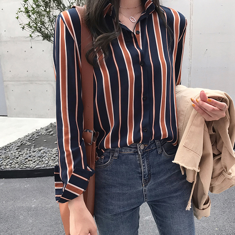 NEW  fashion striped blouse shirt 3XL plus size women tops long sleeve women shirts women blouse womens tops and blouses 1677 50 2