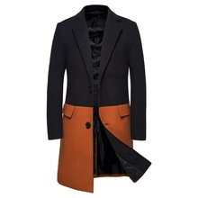 Men's Tweed Coat Fashion Slim Trench Coat In Long Contrast Color Trench Coat Stitching Men's Tweed Coat Men's Trench Coat Long