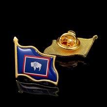 Estados Unidos estado de Wyoming Bandera Nacional epoxi chapado en oro Pin para solapa con insignia/broche oficial para traje Accesorios