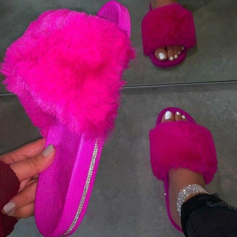 Новинка весны 2020, домашние меховые тапочки, Теплые повседневные тапки на плоской подошве, уличные Нескользящие тапки, цветная обувь Тапочки      АлиЭкспресс