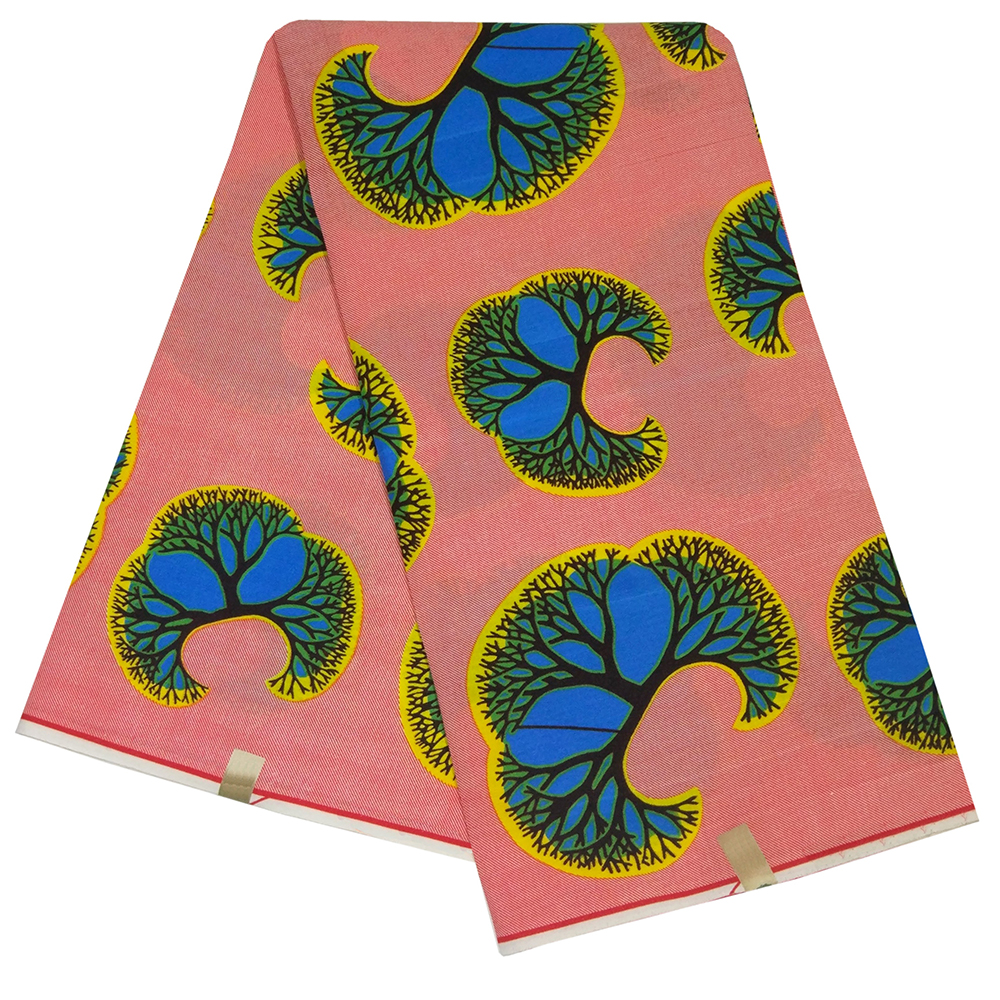 2019 Newest African Pink 100% Polyester Blue And Yellow Printed African Pagne Nigeria Wax Fabric DIY Ankara Fabric 6Yards