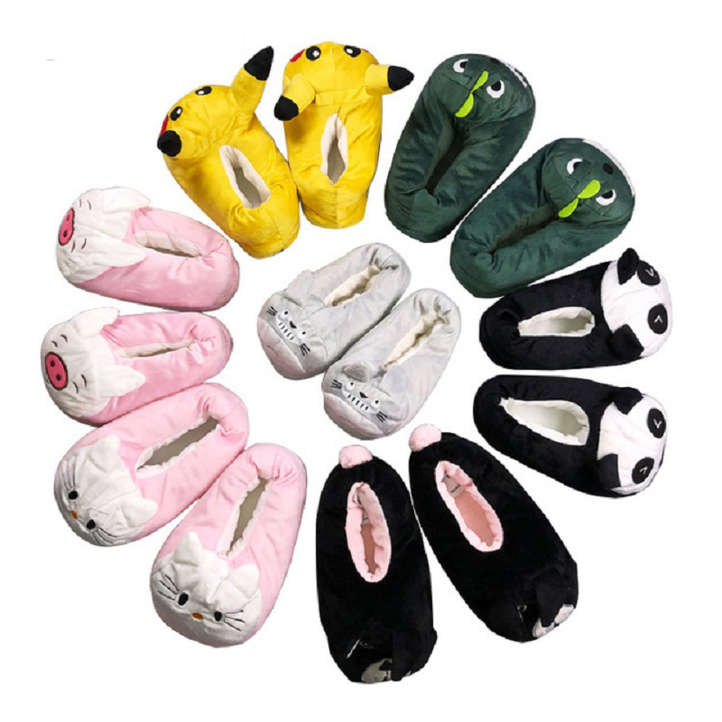 Children Anime Cartoon Pokemon Slippers  Warm Kids Girls Slippers Elf Ball Pikachu Plush Shoes Baby Boy Home House Slippers