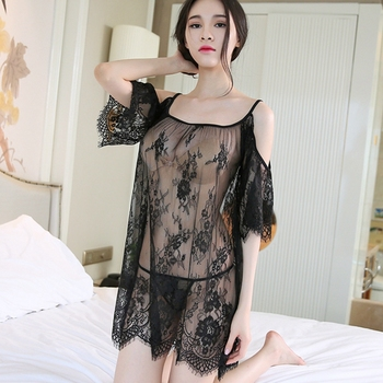 Lace Night Dress See through Lingerie Nightgown Mini Nightwear Women Sleep Dress Night Gown Sleepwear Sexy White Black sexy lace nightwear erotic lingerie sleepwear women summer see through sleep dress solid lace pajamas bath robe dress nightgown