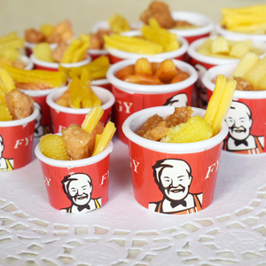 2pcs 1/6 1/12 Miniature Dollhouse Bucket Fast Food for Doll House Kithcen Pretend Food Chips for Blyth bjd Doll Accessories Toys(China)