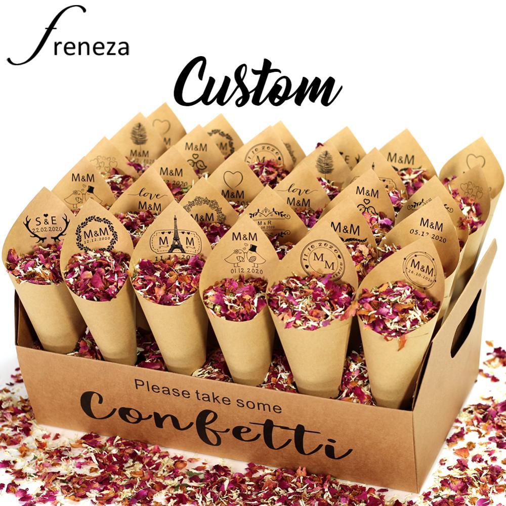 Персонализированный разноцветный 100% натуральный биоразлагаемый держатель для конусов в виде лепестков розы с конфетти, украшение для свад...