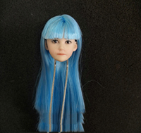 1/6 Lovely Little Girl Head Sculpt with Blue Long Hair for 12''Pale Bodies Toys Gifts