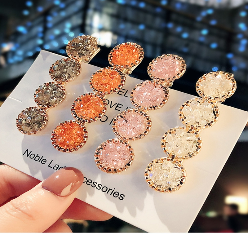 1pcs Fashion Korea Crystal Rhinestones Hair Clips Girls Hairpins Geometric Round Hairgrip Women Girl Barrette Hair Accessories