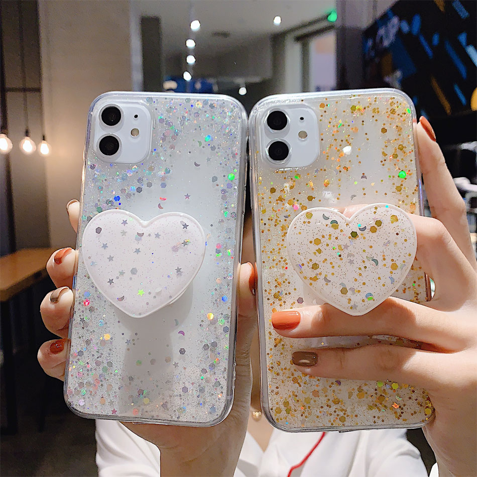 Bling Glitter Design Phone Standing Case With Star Sequin Cover For iPhone 11 Models 6