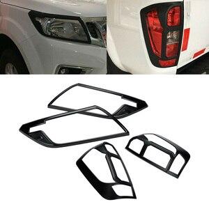 Image 1 - CITALL 4Pcs ABS Schwarz Front Kopf Licht Hinten Schwanz Lampe Rahmen Abdeckung Trim Fit für Nissan Navara NP300 2015 2016 2017 2018 2019