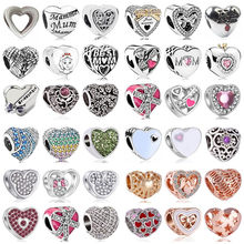 Hot Selling Crystal Arrow Hand Bow Wing Queen Letter Heart Minnie Beads Fit Original Pandora Charms for Women DIY Jewelry(China)