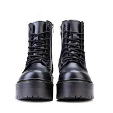 Женские дизайнерские ботинки из натуральной кожи, мотоциклетная обувь в стиле панк, на молнии, увеличенная платформа, сапоги