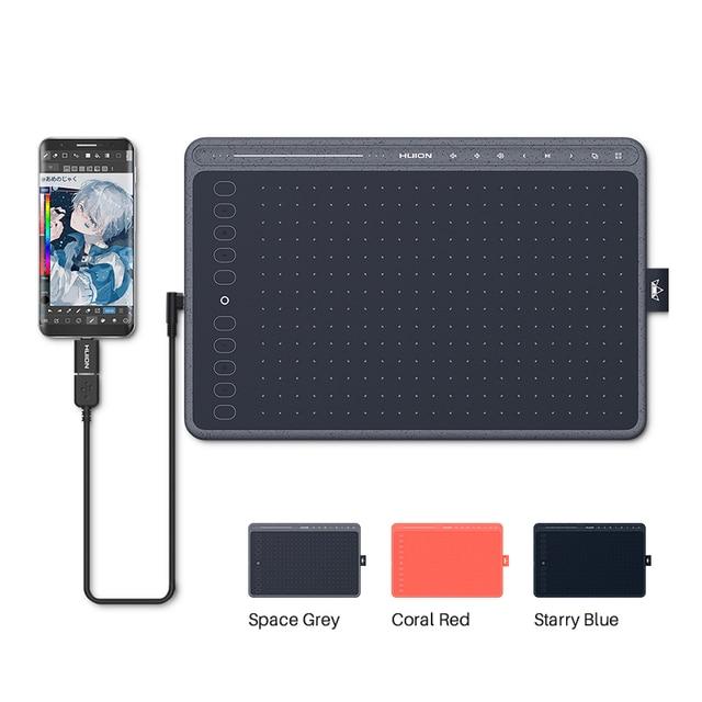 HUION HS611 Tablet graficzny cyfrowy Tablet do rysowania 266PPS z klawiszami ekspresowymi i multimedialnymi trzy kolory na PC Android