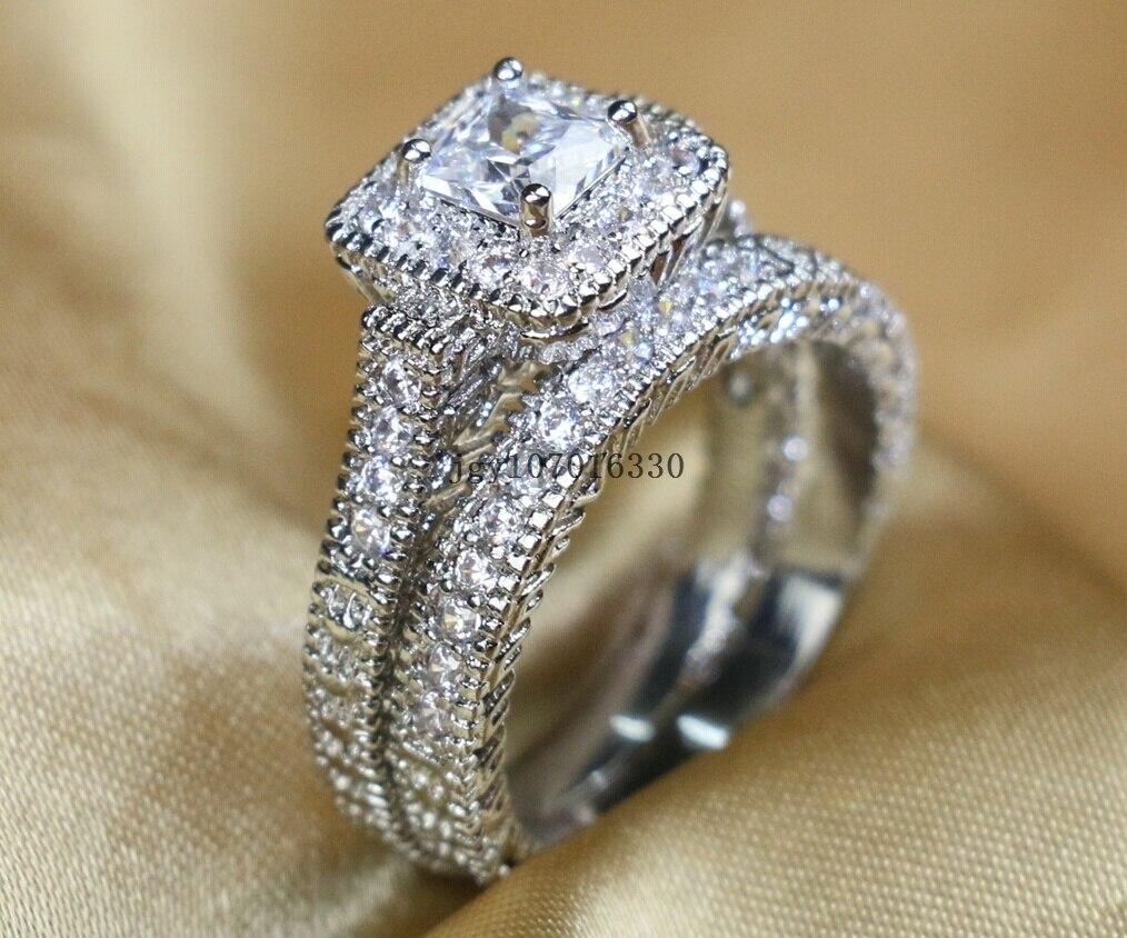 Zuee Clear Cz Bridal Sets 10KT White Gold Filled Vrouwen Wedding Ring Band Geschenken Sz 6,7, 8,9 - 4