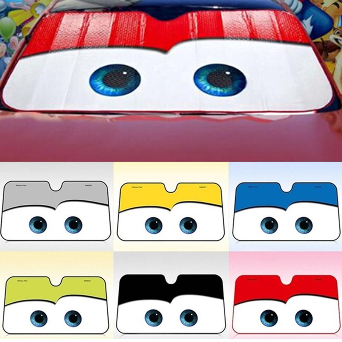 130x70CM Cartoon Car Visor Auto Solar Protection Foils Eyes Car Front Window Windshield Visor Universal Car Cover Car-styling