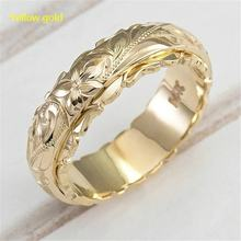 14K Gold Plated emery Rose Flowe Ring plated Couple wedding rings for men and women Promise Anniversary marriage ring(China)