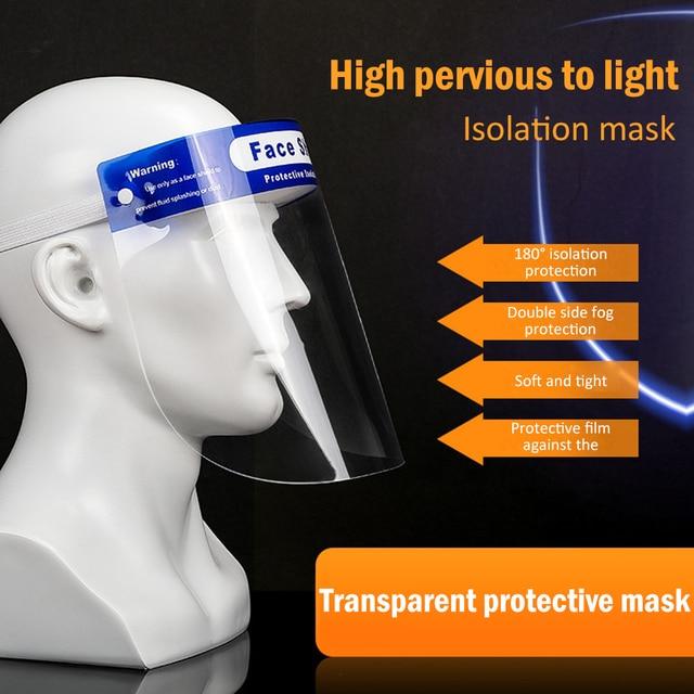 NEW Splash-Proof Protective Face Shield Reusable Full Face Protective Masks anti Saliva Protection Clear Visor Respirator 1