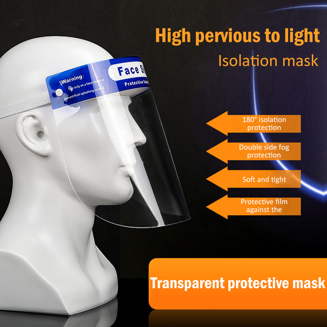 Safety Splash-Proof Protective Face Shield Reusable Full Face Screen Masks anti Saliva infect Protection Clear Visor Respirator