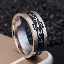 Кольцо с драконом из титановой стали шириной 8 мм для мужчин