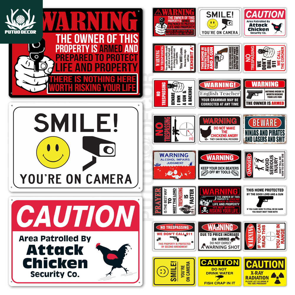 Funny Warning Sign Metal Sign Tin Sign Wall Decor for Man Cave Chicken Coop No Trespassing Sign