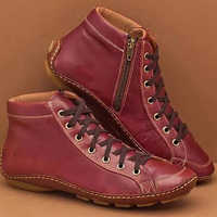 Women Winter Cotton Warm Flat Cross Lace Up Ankle Boots Vintage Ladies PU Zip Woman Shoes Female Botas Mujer Women Short Boot
