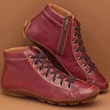 Women Winter Cotton Warm Flat Cross Lace Up Ankle Boots Vintage Ladies PU Zip Wo