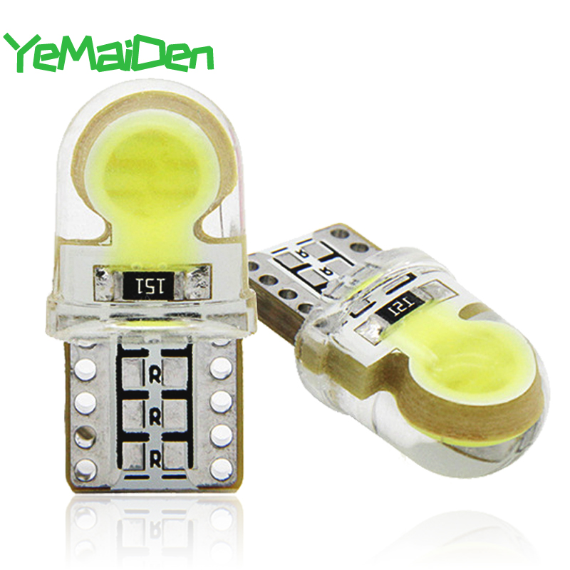T10 LED COB Interior Reading Light 12V 7000K White 5W5 W5W COB LED Bulb Car Clearance Wedge Side Plate License Lamp Silicone 194