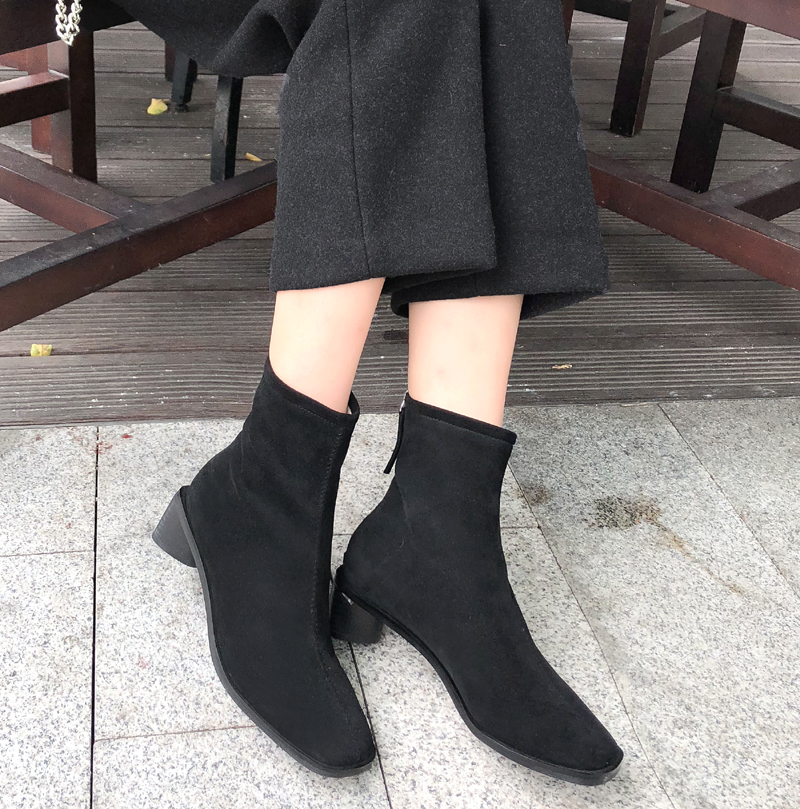 2019 Koreans small square head heel boots women 39 s back zipper thick heel leather boots in Mid Calf Boots from Shoes