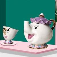 Горячая новинка, чайный горшок с героями мультфильмов Красавица и чудовище, кружка Mrs Potts Chip, чайный горшок, чашка, 2 шт., один набор, прекрасны...