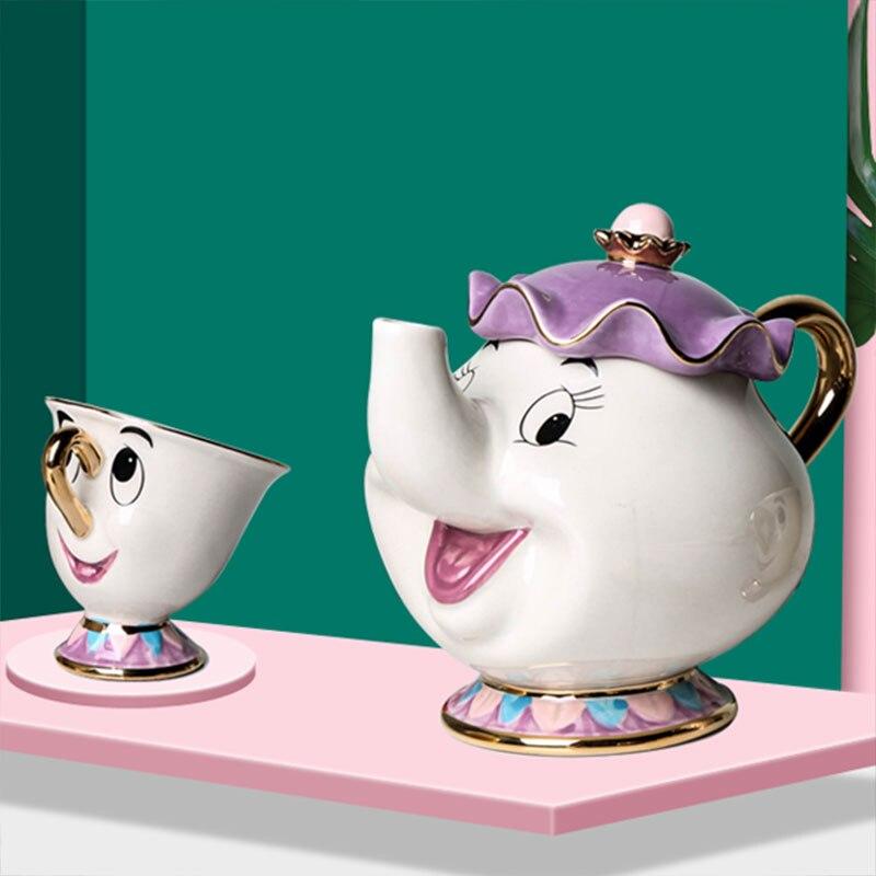 새로운 만화 아름다움과 야수 주전자 머그잔 부인 Potts 칩 차 주전자 컵 한 세트 사랑스러운 멋진 선물 빠른 게시물 무료 배송