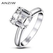 ANZIW 3 карат огранка Ашер Обручение кольцо для Для женщин стерлингового серебра 925 Сона, псевдо бриллиант, Юбилей модное кольцо