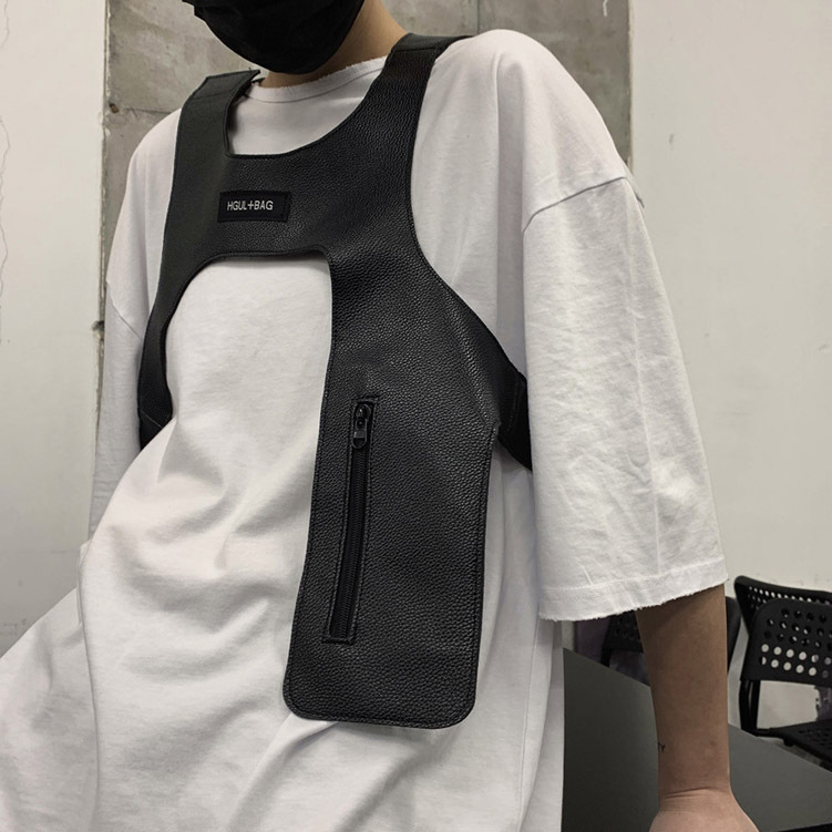 Cool Vest For Men Women Streetwear Tactical Light Vest Accessory Rap Tide Brand Match Hip-hop Harness Cloth
