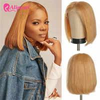 13x4 Bob corto 27 Color frente de encaje Peluca de cabello humano 99J recto brasileño Bob peluca con malla frontal para las mujeres negras pelo AliPearl