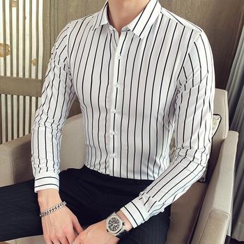 Fashion New 2020 męskie koszule z długim rękawem męskie paski Classic-fit Comfort miękka bawełniana koszula na co dzień tanie i dobre opinie CLASSDIM COTTON Tuxedo koszule Pełna MANDARIN COLLAR Pojedyncze piersi REGULAR Suknem Smart Casual W paski
