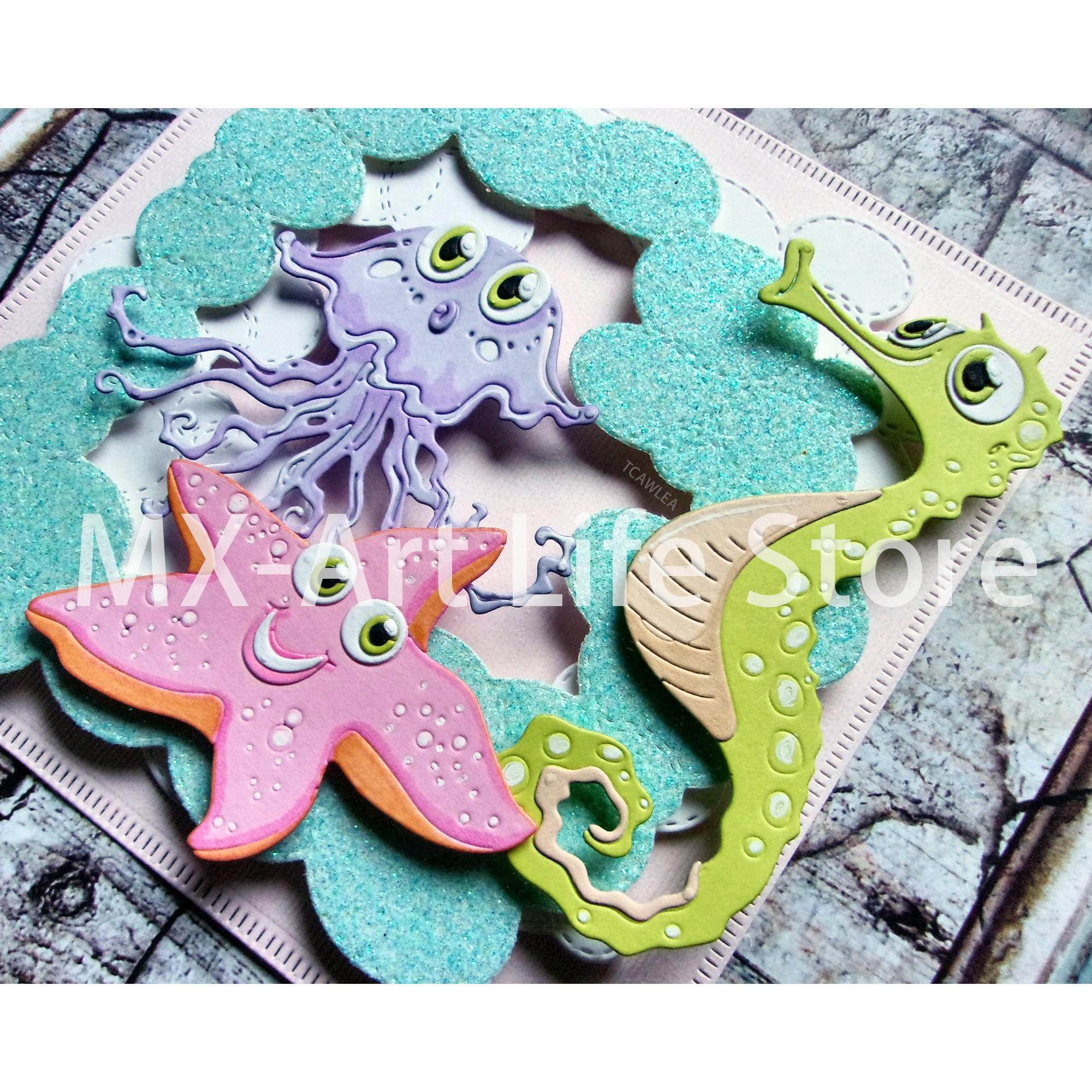 2020 Fish Starfish Crab Shell Jellyfish Metal Cutting Dies Marine Life Ocean Series Stencil For DIY Scrapbooking Decorative