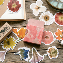 45 Pcs/box Vintage Flower Kawaii Paper Stationery Sticker Flakes DIY Decorative Label for Scrapbooking