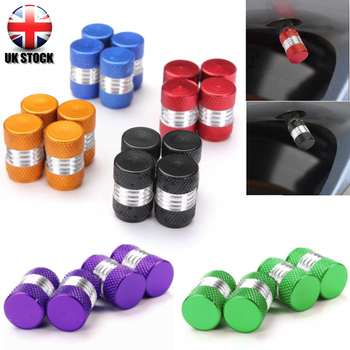 4Pcs/set Car Truck Round Wheel Tire Valve Stem Cap Dust Cover Black/Red/Yellow/Green/Blue/Purple Aluminum Alloy image