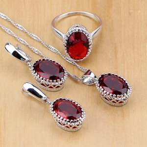Mystic Red Zircon 925 Sterling Silver Jewelry Sets For Women Wedding Accessories Earrings/Pendant/Necklace/Rings