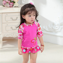 Girls 2 Pieces Swimsuit with Swimming Cap 1-8 Y Kids Piece Swimwear Butterflies Pattern Girl Vacation Beach Wear