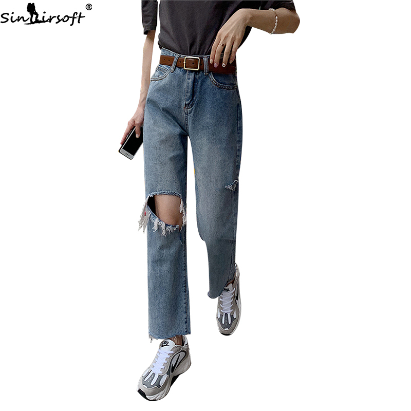 SINAIRSOFT 2019 Summer New Women Straight Jeans Denim Loose High Waist Pants Hole Ripped Jeans Women Pockets Ankle length Pants in Pants amp Capris from Women 39 s Clothing