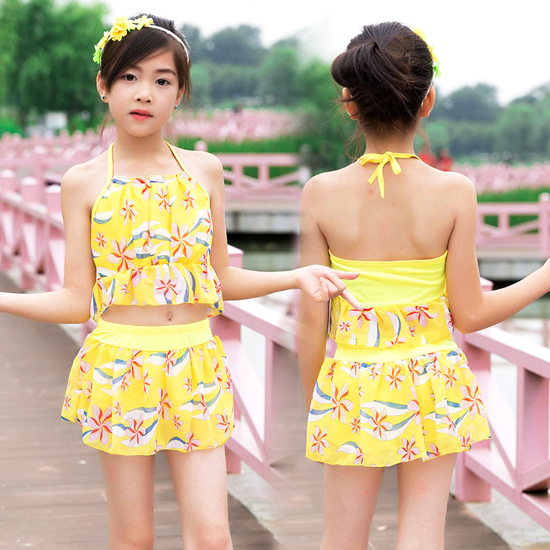 Summer Day Children Hipster Split Type Swimwear Backless Conservative Safe Underpants Korean-style Floral-Print GIRL'S Swimsuit