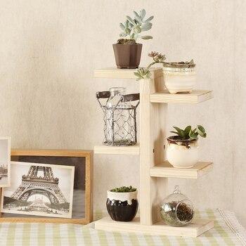 Neue Anlage Regale Holz Haushalt 4-schicht Anlage Stehen Sukkulenten Rack Balkon Desktop Indoor Coffee Bar Garten Blumentopf Regal