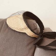К 2020 Году Новых Женщин Мода Ultrabraid Складной Летнее Солнце Козырек Шляпа Необычные Фата Плетение Соломы Пляж Дамы Хвостик Рафии