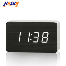 3 Colors Modern Sensor Wood Clock Single Face Led Display Bamboo Clock Digital Alarm Clock Show Temp Time Voice Control KSW102