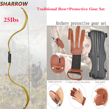 Archery Traditional Bow Powerful Recurve Bow With Protective Gear Set For Outdoor Hunting Shooting  Accessories