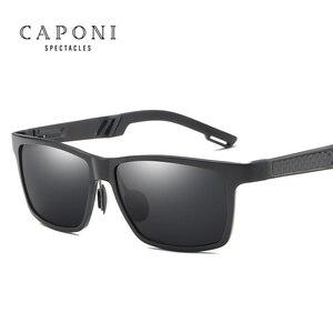 Image 2 - Солнцезащитные очки CAPONI Мужские поляризационные, зеркальные солнечные аксессуары квадратной формы, для вождения, с защитой от ультрафиолета, в винтажном стиле, CP6560